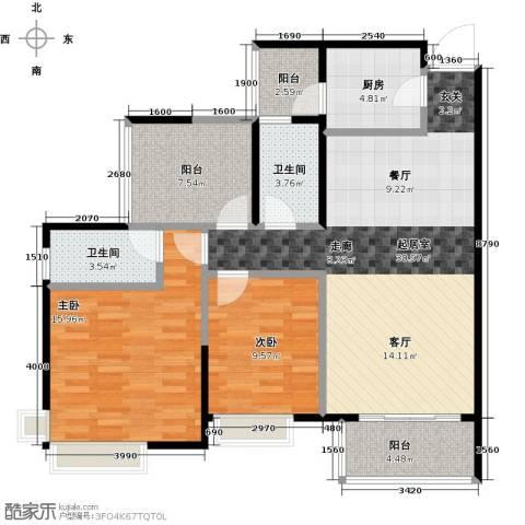 富山居花园2室0厅2卫1厨99.00㎡户型图