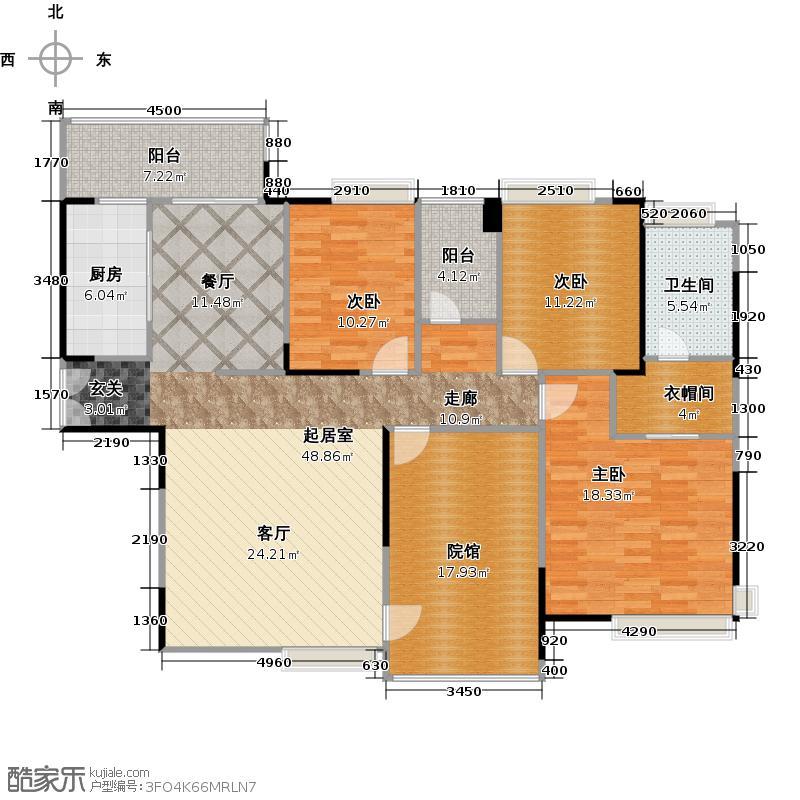 中信凯旋国际143.31㎡户型3室1卫1厨