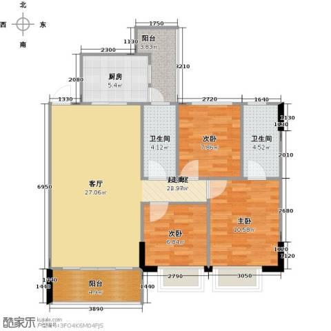 富雅都市华庭3室0厅2卫1厨105.00㎡户型图