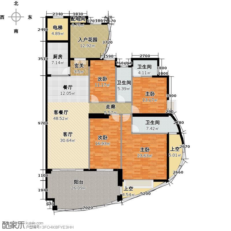海琴湾168.14㎡3-21层奇数层04单位户型4室1厅3卫1厨