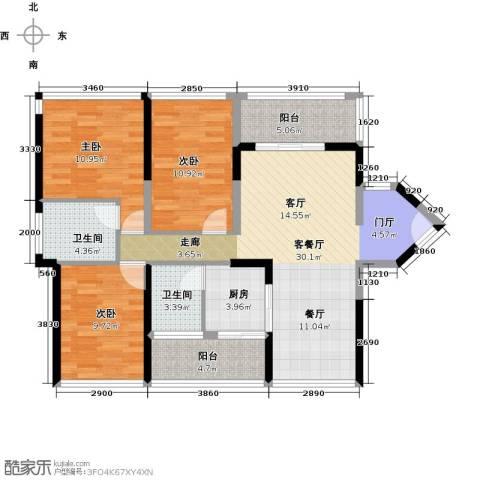怡安皇庭3室1厅2卫1厨100.00㎡户型图