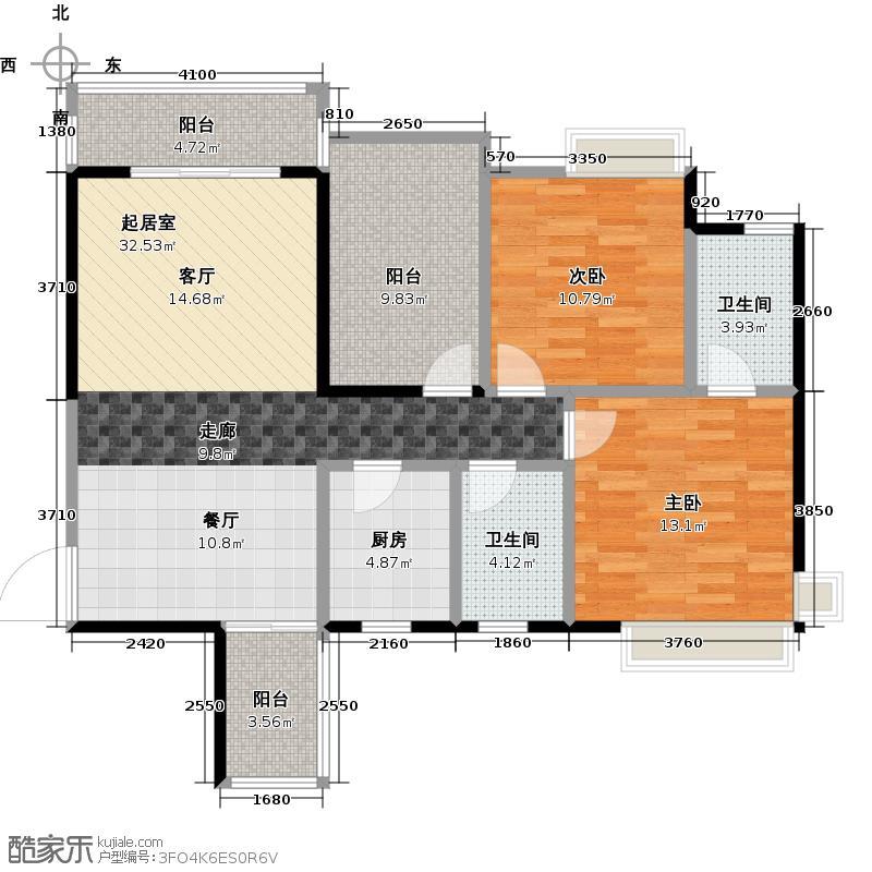 富山居花园100.00㎡15-16栋D户型2室2卫1厨