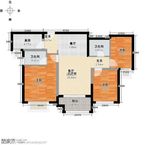 万科金色梦想3室0厅2卫1厨93.00㎡户型图