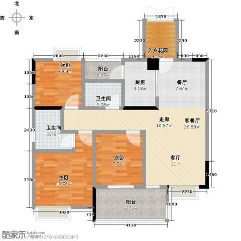 盈拓郦苑3室1厅2卫1厨107.00㎡户型图