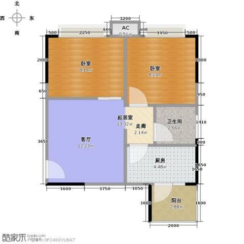 中惠香樟半岛1卫1厨53.00㎡户型图