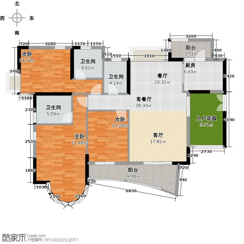 君御海城150.00㎡B131/33栋5~29层户型3室1厅3卫1厨
