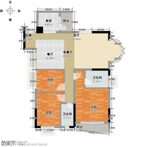 香港街二期3室1厅2卫1厨142.00㎡户型图