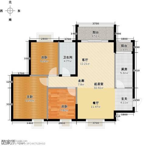 南沙紫茗花园3室0厅1卫1厨87.35㎡户型图