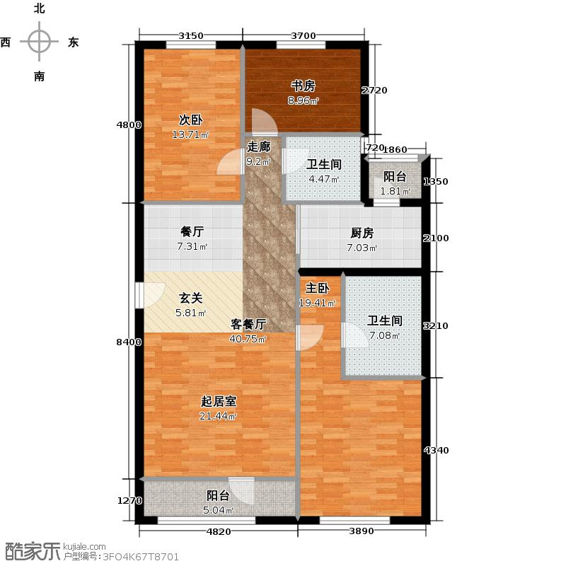 北京华侨城143.00㎡A1-2号楼D户型3室1厅2卫1厨