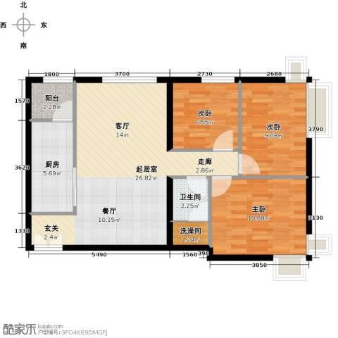 北京华贸城3室0厅1卫1厨91.00㎡户型图