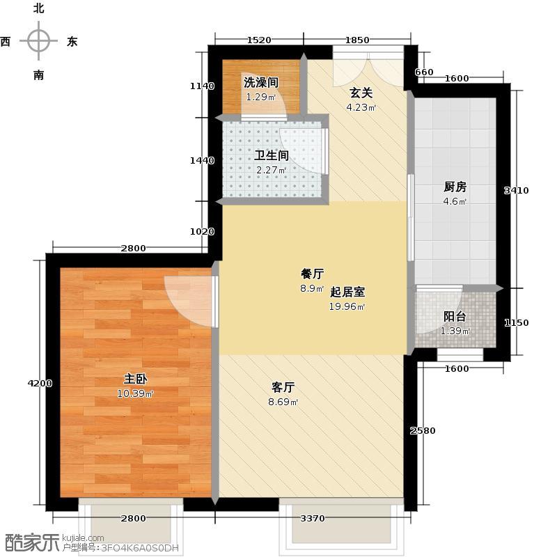 北京华贸城56.20㎡25号楼3-03户型1室1卫1厨