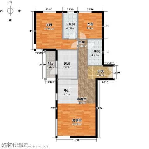 北京华侨城2室1厅2卫1厨124.00㎡户型图