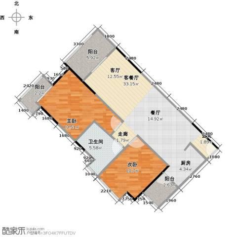 中海金沙苑2室1厅1卫0厨79.06㎡户型图