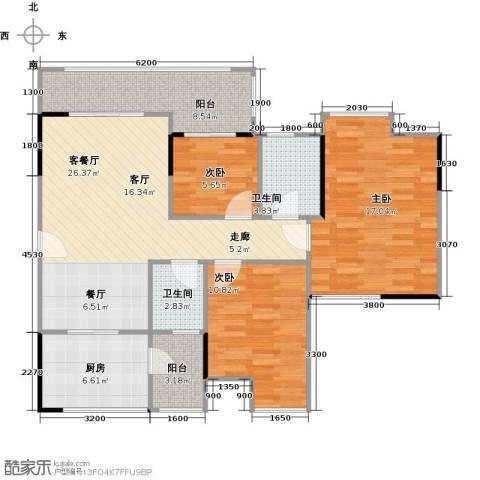 中海金沙苑3室1厅2卫1厨92.05㎡户型图