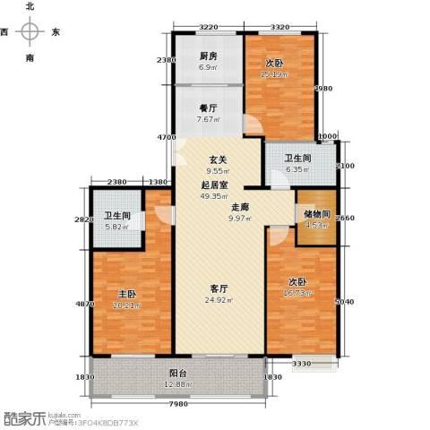 京投银泰・琨御府3室0厅2卫1厨151.00㎡户型图