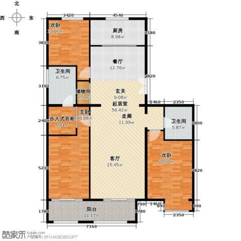 京投银泰・琨御府3室0厅2卫1厨164.00㎡户型图