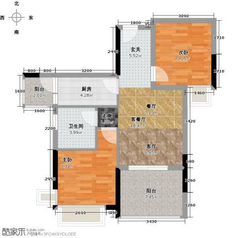 宇丰名苑2室1厅1卫1厨79.00㎡户型图