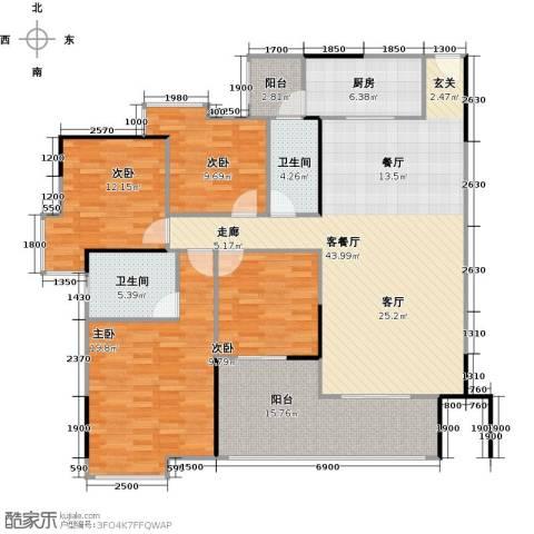 中海金沙苑4室1厅2卫1厨175.00㎡户型图