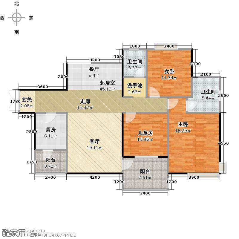 联华花园城119.60㎡户型3室2卫1厨