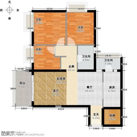 花都富庄庭3室0厅2卫1厨96.00㎡户型图