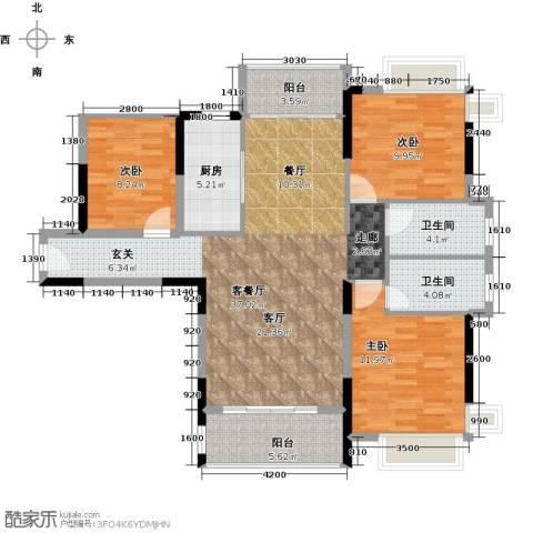 宇丰名苑3室1厅2卫1厨114.00㎡户型图