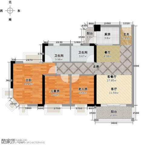海伦堡花样年华3室1厅2卫1厨93.00㎡户型图