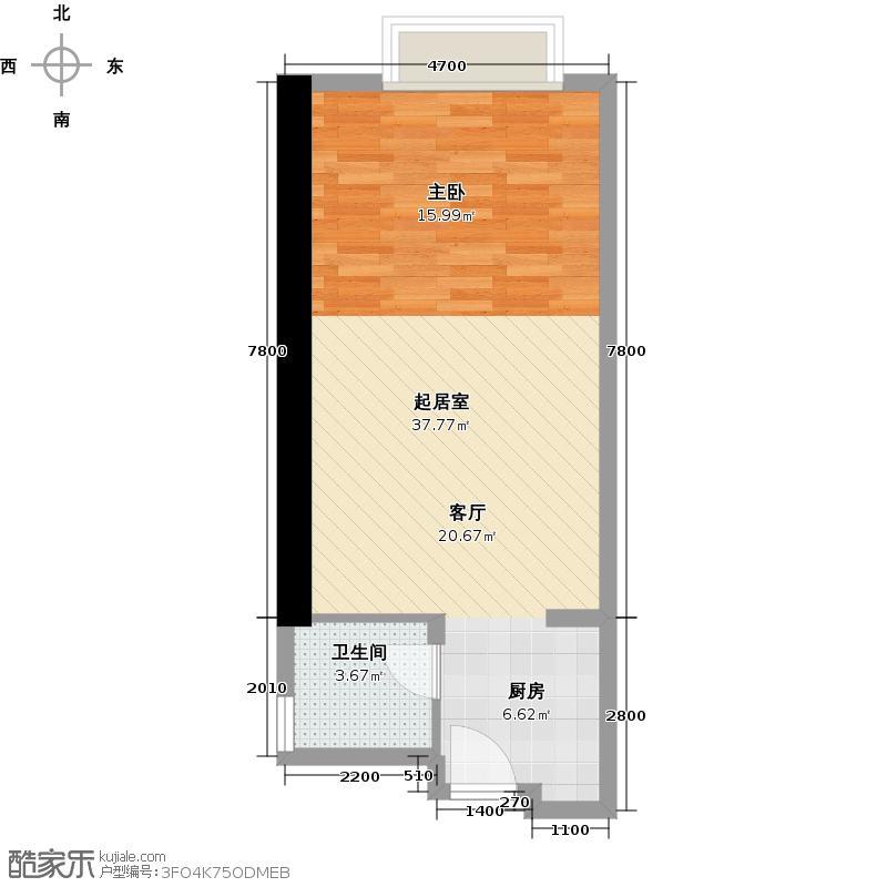 保利中环国际公寓48.54㎡户型1卫