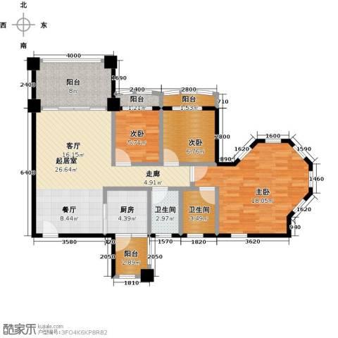 金海岸花园二期3室0厅2卫1厨104.00㎡户型图
