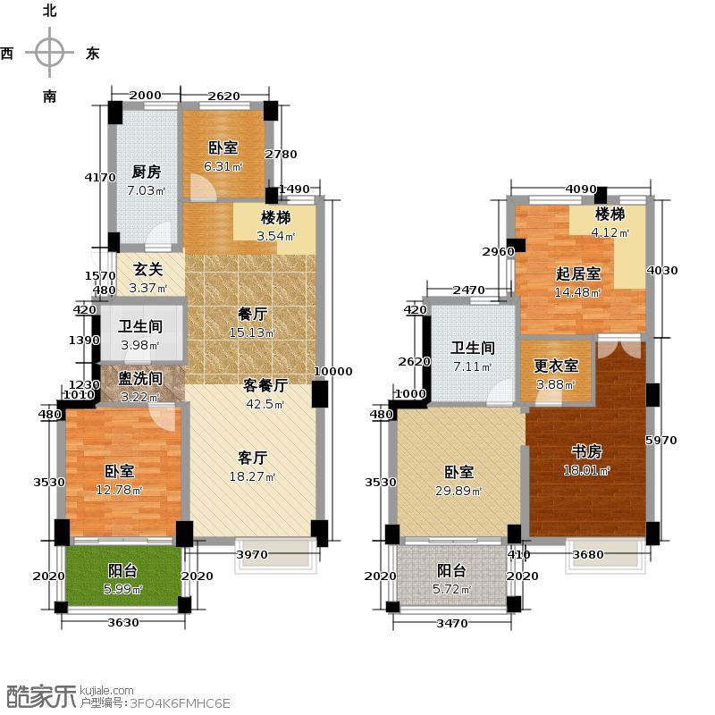铂金名筑158.00㎡2、3、4号楼复式户型4室2厅2卫