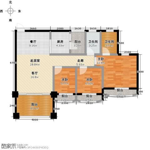 金海岸花园二期3室0厅2卫1厨98.00㎡户型图