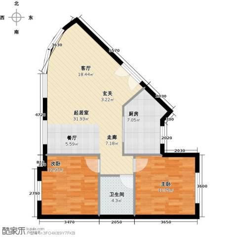 万象新天2室0厅1卫1厨91.00㎡户型图