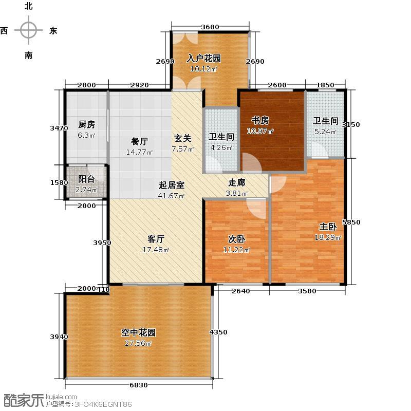 龙城国际147.43㎡龙悦阁02偶数层平面图户型3室2卫1厨