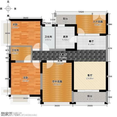 新世纪星城三期2室1厅2卫1厨132.00㎡户型图