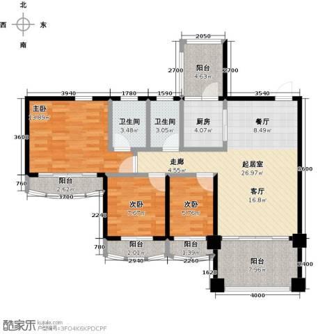 金海岸花园二期3室0厅2卫1厨101.00㎡户型图