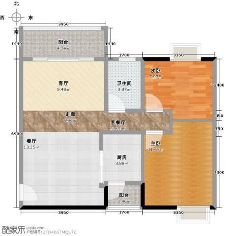 新彼岸2室1厅1卫1厨85.00㎡户型图