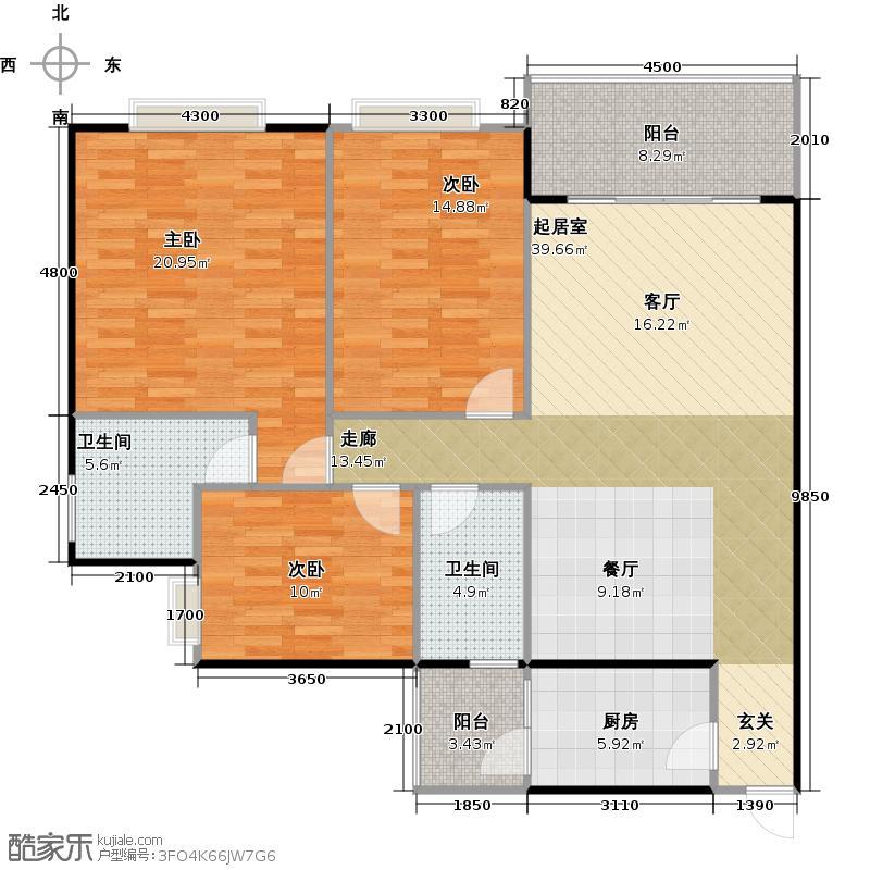 联华花园城121.74㎡户型3室2卫1厨