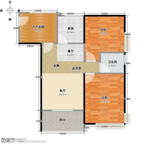 东海阳光2室0厅1卫1厨83.00㎡户型图