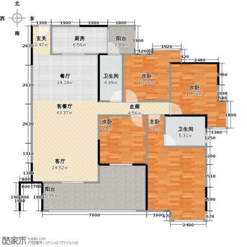 中海金沙苑4室1厅2卫1厨140.39㎡户型图