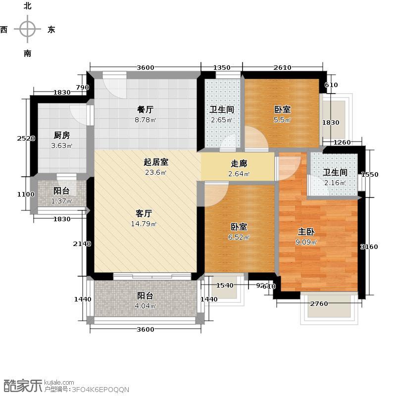 中惠丽阳时代二期68.23㎡户型1室2卫1厨