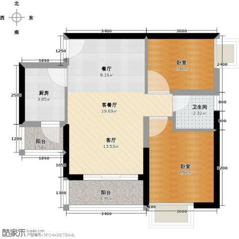 中惠丽阳时代二期1厅1卫1厨67.00㎡户型图