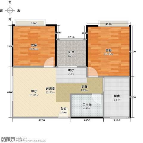 东海阳光2室0厅1卫1厨85.00㎡户型图