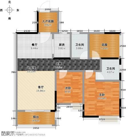 汇景御泉香山2室0厅2卫1厨96.00㎡户型图