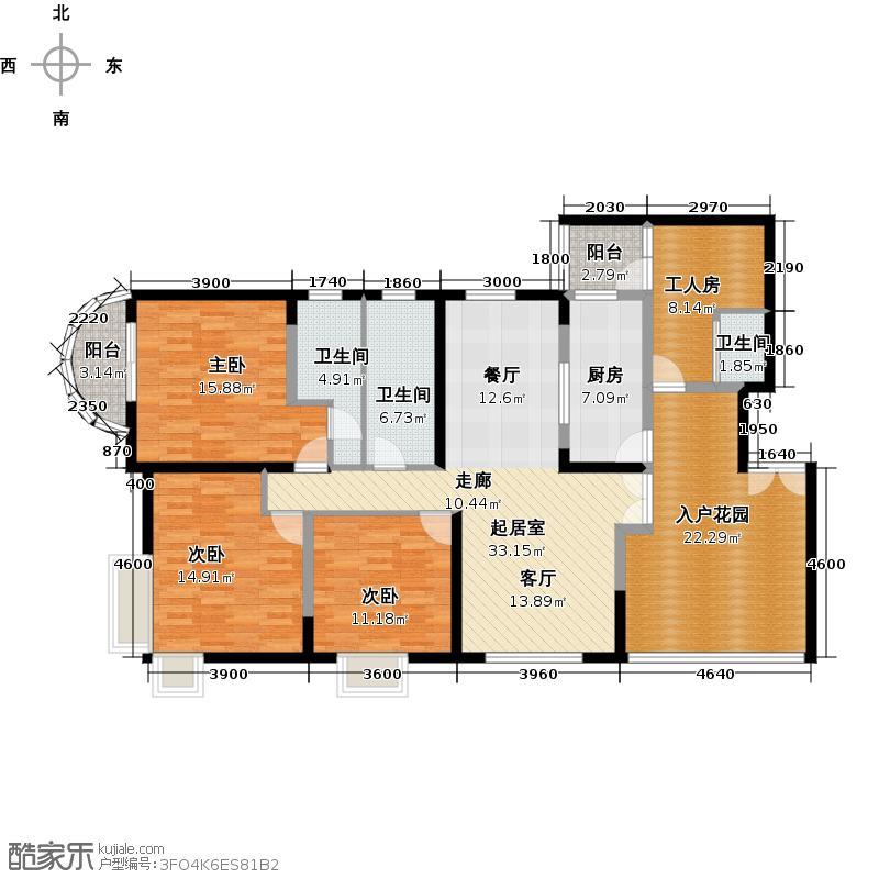 陶然豪园151.03㎡户型3室3卫1厨