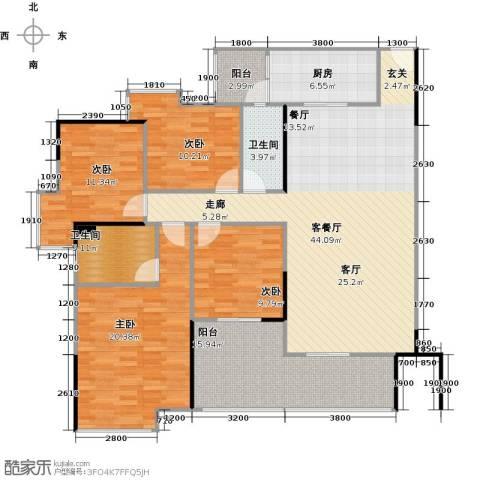 中海金沙苑4室1厅2卫1厨140.23㎡户型图