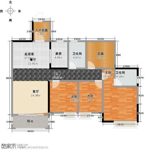 汇景御泉香山3室0厅2卫1厨121.00㎡户型图