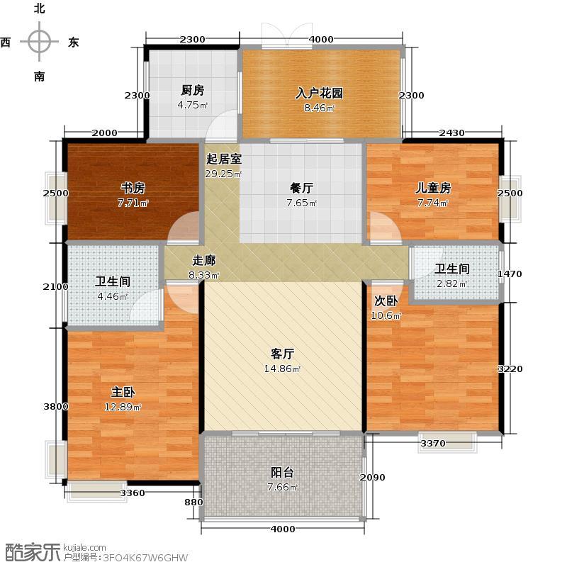 联华花园城104.07㎡户型4室2卫1厨