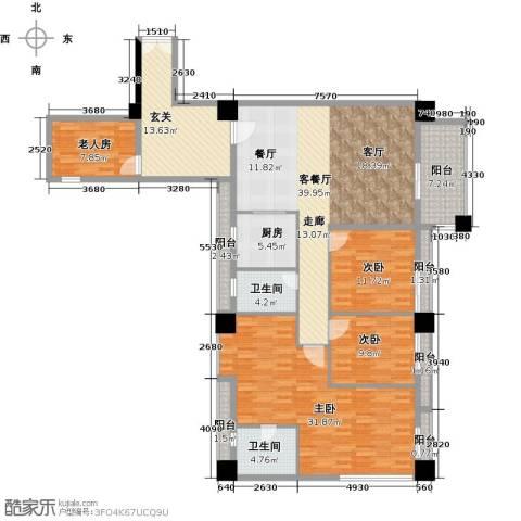 虎门地标4室1厅2卫1厨206.00㎡户型图