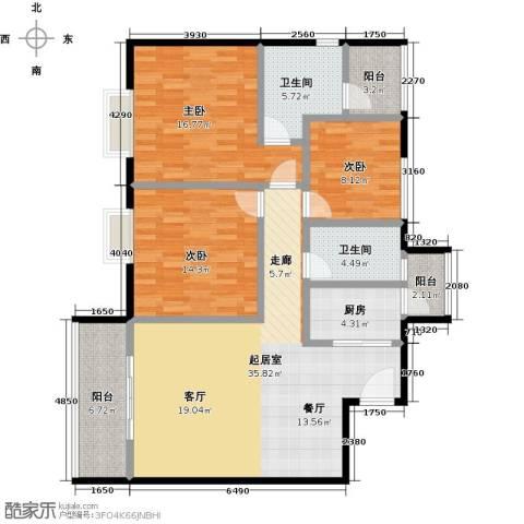 东方苑3室0厅2卫1厨115.00㎡户型图