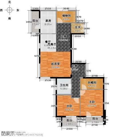 北京华侨城2室1厅1卫1厨146.00㎡户型图