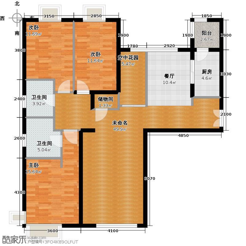 富力又一城151.47㎡(已售完)B15三单元08三室户型3室2卫1厨